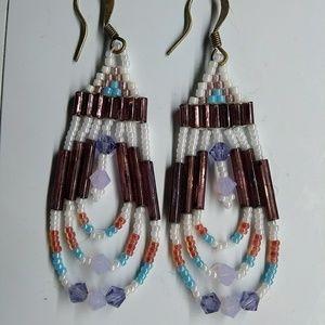 Handmade Purple White Chandelier Beaded Earrings